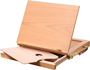 MEEDEN Table Sketch Box Easel -Portable Solid Beech Tabletop Wood Easel Drawing & Sketching Board with Storage Drawer & Palette for Beginner Artist, Art Students & Kids, Canvas up to 11
