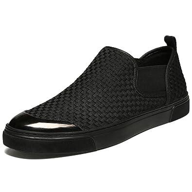 Homme Chaussure de Basket Mode sans Lacet en Toile Tressée Chaussure  Décontractée Paresseuse Basse Plate Respirant