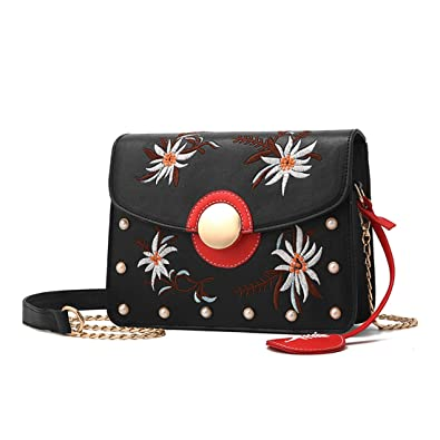 Amazon.com  Dunland Leather Stylish Crossbody Messenger Classic Business  Evening Shoulder Bag Flower Embroidery A45 Black  Shoes 6c9faeda5caee