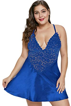 4293cbf3c18 Plus Size Lingerie Sexy Halter Cupless Lace Set Mesh Babydoll Chemise  Sleepwear (XL