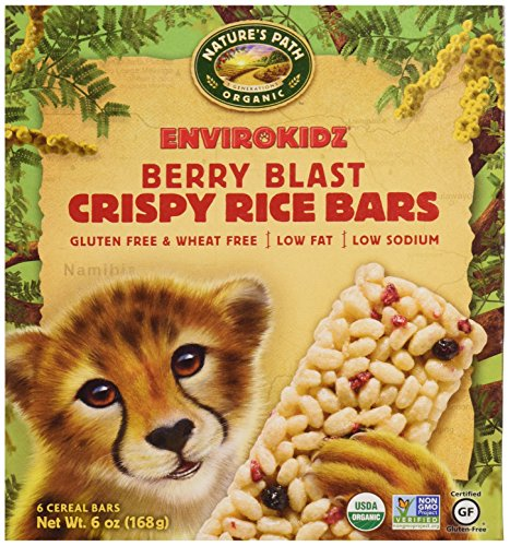 EnviroKidz Organic Cheetah Crispy Rice Bars, Berry, 6 ct