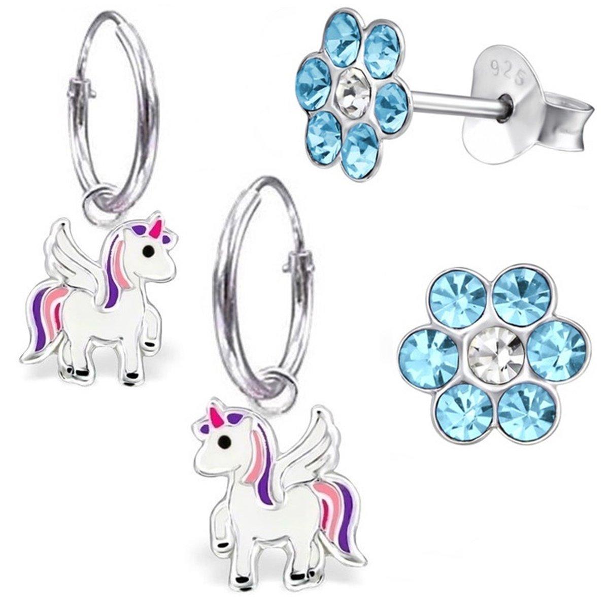 GH* KIDS 2 PAAR Kleine Einhorn Creolen + Kristall Blume 925 Echt Silber Mädchen Baby Kinder Ohrringe Ohrhänger Pferde Pegasus GH-1a AM9882N5