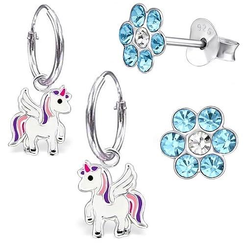 2 PAAR Glitzer Einhorn Brisur Ohrringe 12mm Creolen 925 Silber Mädchen Pferd