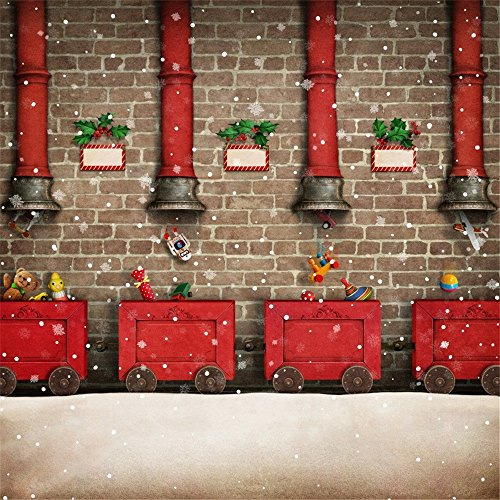- Laeacco 6x6ft Vinyl Backdrop Photography Background Holiday Greeting Card Christmas or New Year Winter Snowflakes Red Cart Cartoon Chimney Children Santa Claus Brick Wall Background Festival