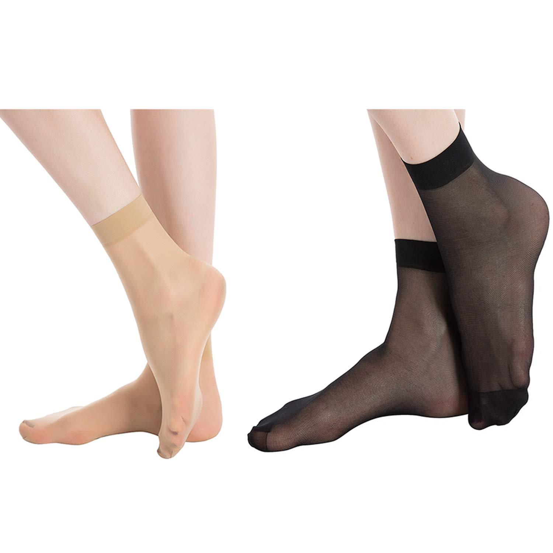 e24d1c352 MANZI 12 Pairs Women s Ankle High Sheer Socks (6 Pairs Black