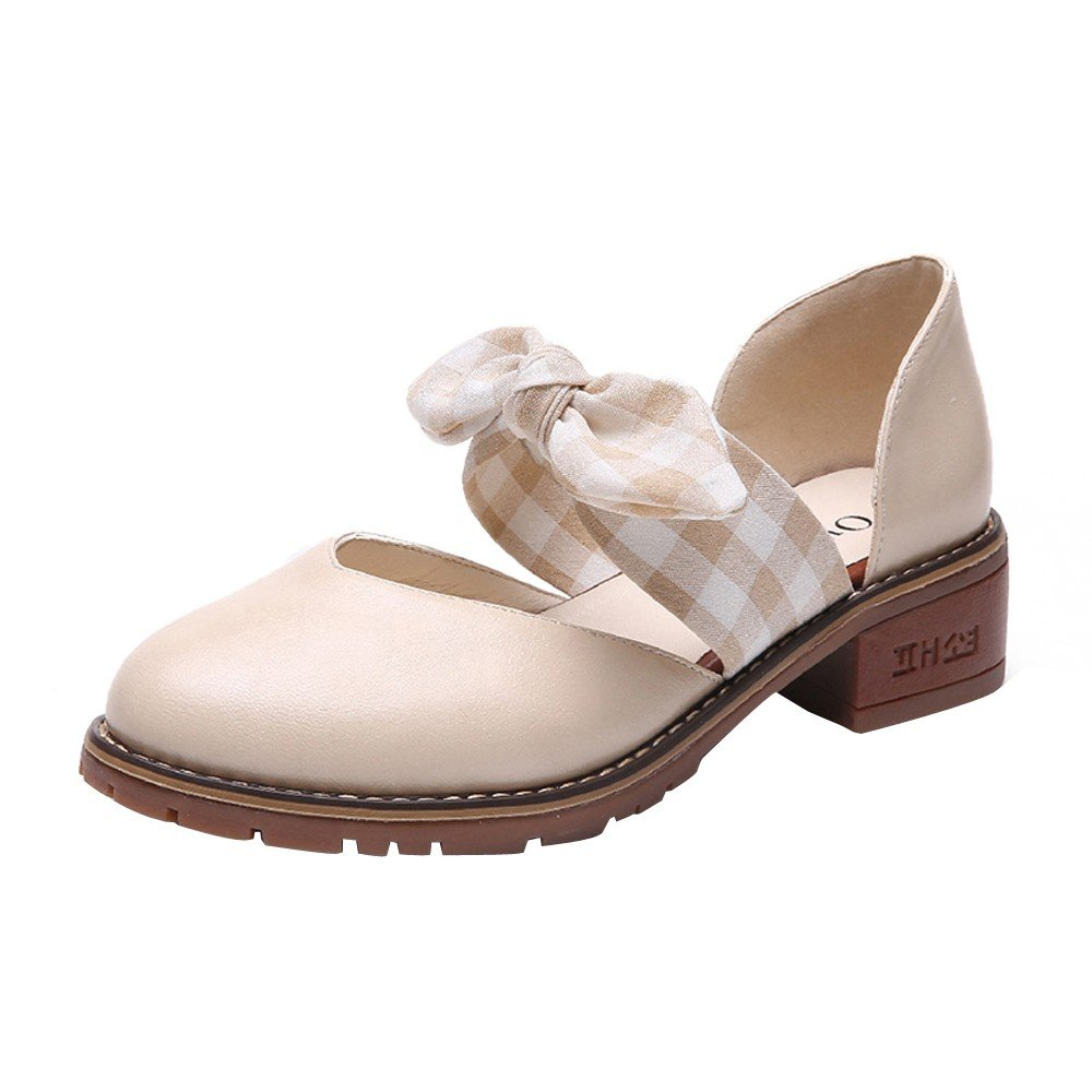 Shoes For Womens -Clearance Sale ,Farjing Women Slip-on Round Toe Butterfly-Knot Shoes Sandals Casual Comfortable Shoes(US:6.5,Khaki)