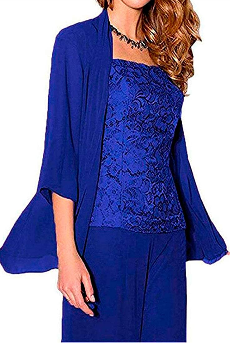 Women's 3 Max 83% OFF Ultra-Cheap Deals Pieces Chiffon Mother of Pants Bride Dress The Suits W