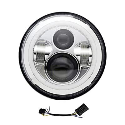 AUSI 7 inch LED Headlight for Harley Davidson Halo DRL Turn Signal Motorcycle Chrome Projector Headlamp for Jeep Wrangler JK LJ CJ LED Headlamp: Automotive