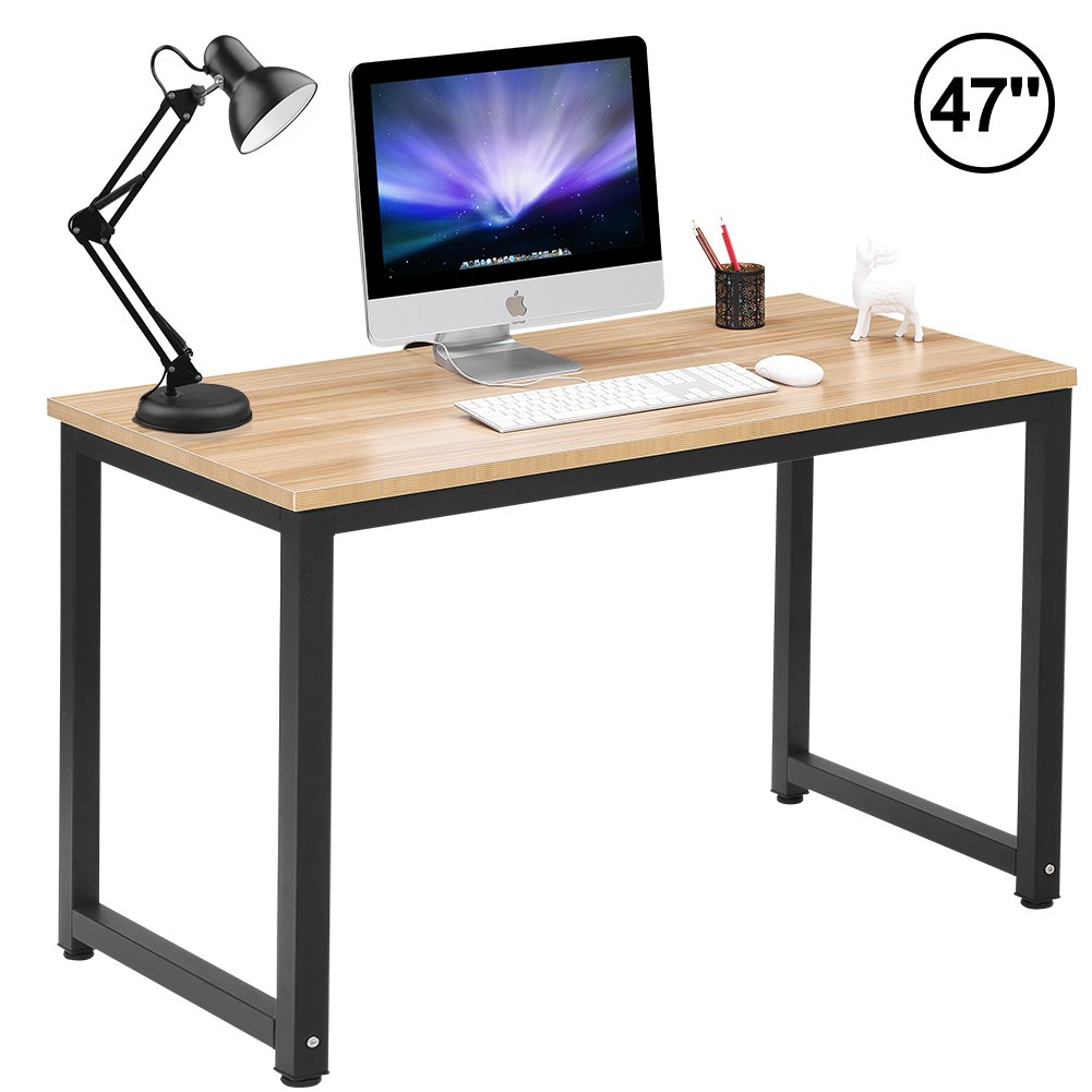 Computer Desk 47'' Modern Simple Style Sturdy Home Office Desk Study Writing Desk Table for Home Office School, Walnut + Black Leg (47.2'' X 23.6'' X 29.1'')
