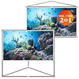 camp chef movie screen - JaeilPLM 100-Inch 2-in-1 Portable Projector Screen + Outdoor & Indoor Compatible + Instant Wrinkle-Free + with Triangle Stand or Hanging Design Movie Projection for Home Theater, Gaming, Office