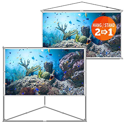 - JaeilPLM 100-Inch 2-in-1 Portable Projector Screen, Outdoor Indoor Compatible with Triangle Stand or Hanging Design Movie Projection for Home Theater, Gaming, Office