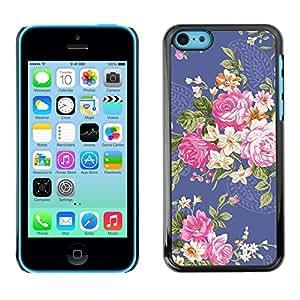 "For Apple iPhone 5C Case , Tela Tela Begonia flor de Rose floral"" - Diseño Patrón Teléfono Caso Cubierta Case Bumper Duro Protección Case Cover Funda"