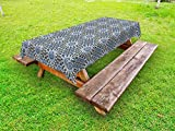 Ambesonne Arabian Outdoor Tablecloth, Retro Style Arabesque Motifs Mosaic Ceramic Design Traditional Culture Print, Decorative Washable Picnic Table Cloth, 58 X 120 inches, Grey White Blue