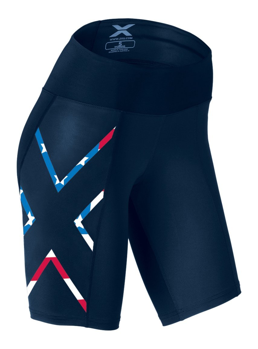 2XU Women's Mid-Rise Compression Shorts, Navy/USA Stars Stripes, X-Small by 2XU (Image #1)