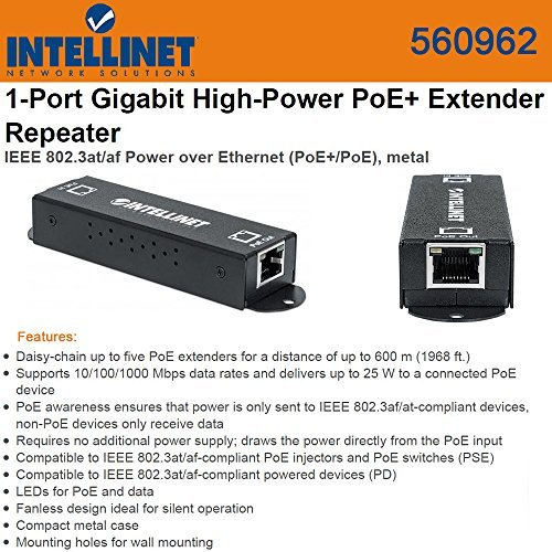 Intellinet 560962 1-Port Gigabit High-Power PoE+ Extender Repeater - IEEE 802.3at/af Power over Ethernet (PoE+/PoE)- metal - Black by Intellinet