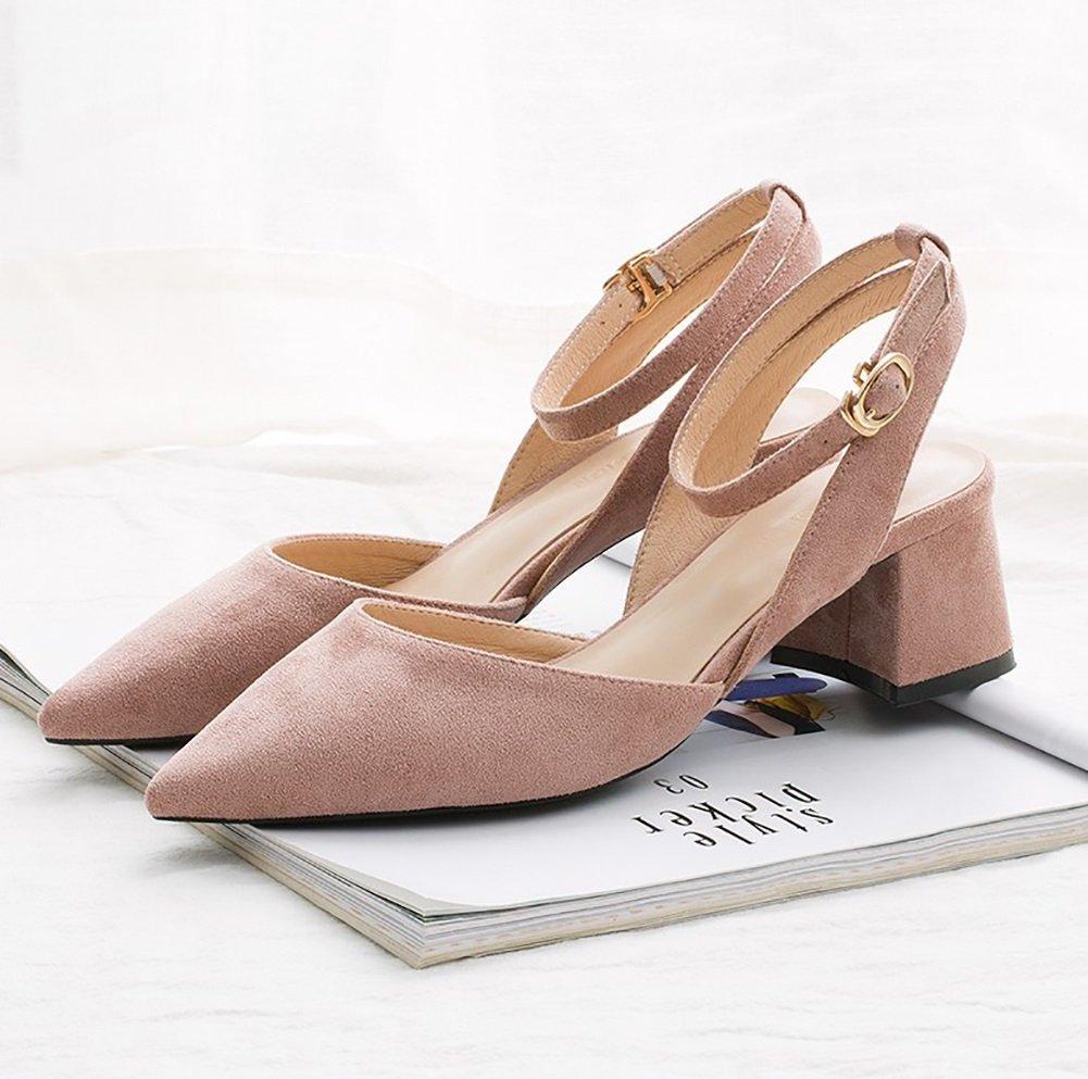 YNXZ-SHOE Womens Heel Sandalen, Shallow Mouth Spitzen Suede Casual Hasp Gummisohle, Kreativer Komfort Rutschfest/Atmungsaktiv, Schwarz/Pink/Nude 34-40 Meter (Farbe : Pink, grouml;szlig;e : 35)  35|Pink