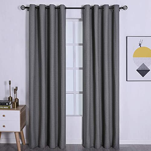 Amzdecor Blackout Curtains for Bedroom Panel Pair Dark Grey 95 inches Thermal Insulated Noise Reduction Draperies Dark Grey 2 Pieces, 104 x 95
