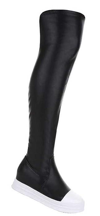 Damen Overknee Gold Stiefel Schuhe Sportliche Schwarz Gold Overknee Silber 36 37 72e6ad