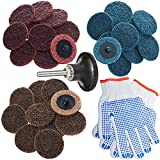 2 Inch Roloc Quick Change Discs Set 30Pcs Sanding Disc with 1/4'' Pad Holder, Surface Conditioning Disc for Air Die Grinder, Surface Prep Grinding Polish Finish Strip Burr Rust Paint Removal