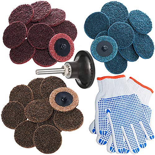 2 Inch Roloc Quick Change Discs Set 30Pcs Sanding Disc with 1/4'' Pad Holder, Surface Conditioning Disc for Air Die Grinder, Surface Prep Grinding Polish Finish Strip Burr Rust Paint (Air Tool Angle Grinder)