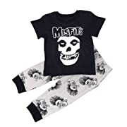 Maygold Baby Boys Cotton Clothes Set Toddler Skull T-Shirt Pants Black Summer Infant Outfit 2 Piece