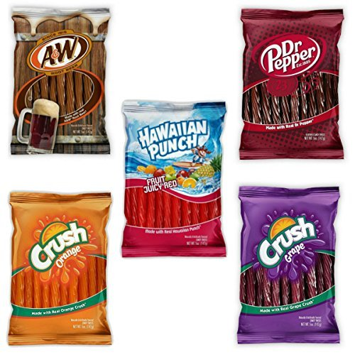 Kenny's Twists - Variety 5 Pack Soda Flavors - A&W Root Beer, Dr. Pepper, Orange Crush, Grape Crush, and Hawaiian Punch - Nt. Weight 25 oz - Fresh Product - 5 Gum Fruit Punch