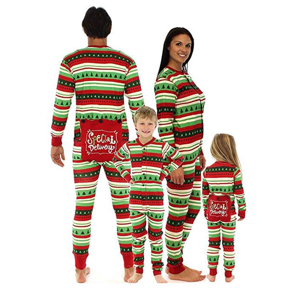 Wetry Natale Famiglia Pigiama/Pigiama Siamese di Famiglia - Autunno Inverno Natale Motivo Stampato Manica Lunga Pigiama Uomo Donna Bambini Homewear