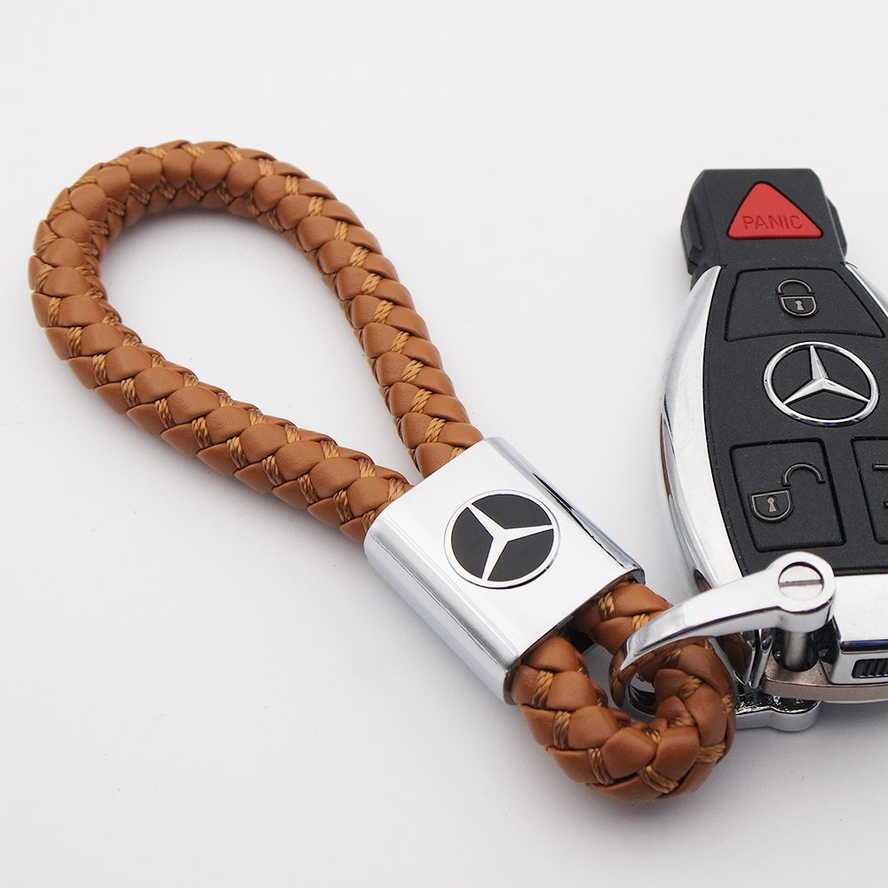 Black for Mercedes-Benz Logo Emblem Key Chain Key Ring Metal Alloy BV Style Black Leather Gift Decoration Accessories AMG
