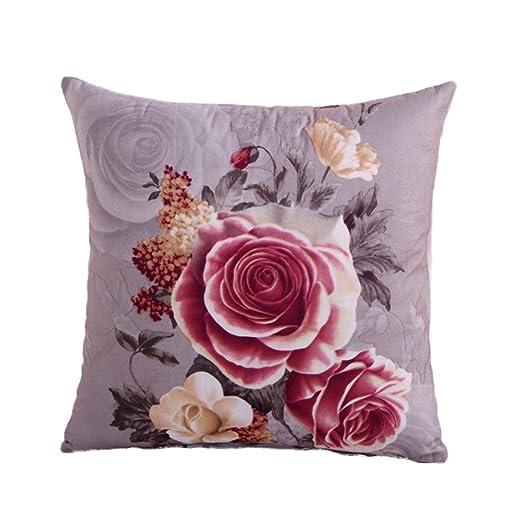 WINOMO peonía Flores algodón Lino Decorativo Cojín Caso ...