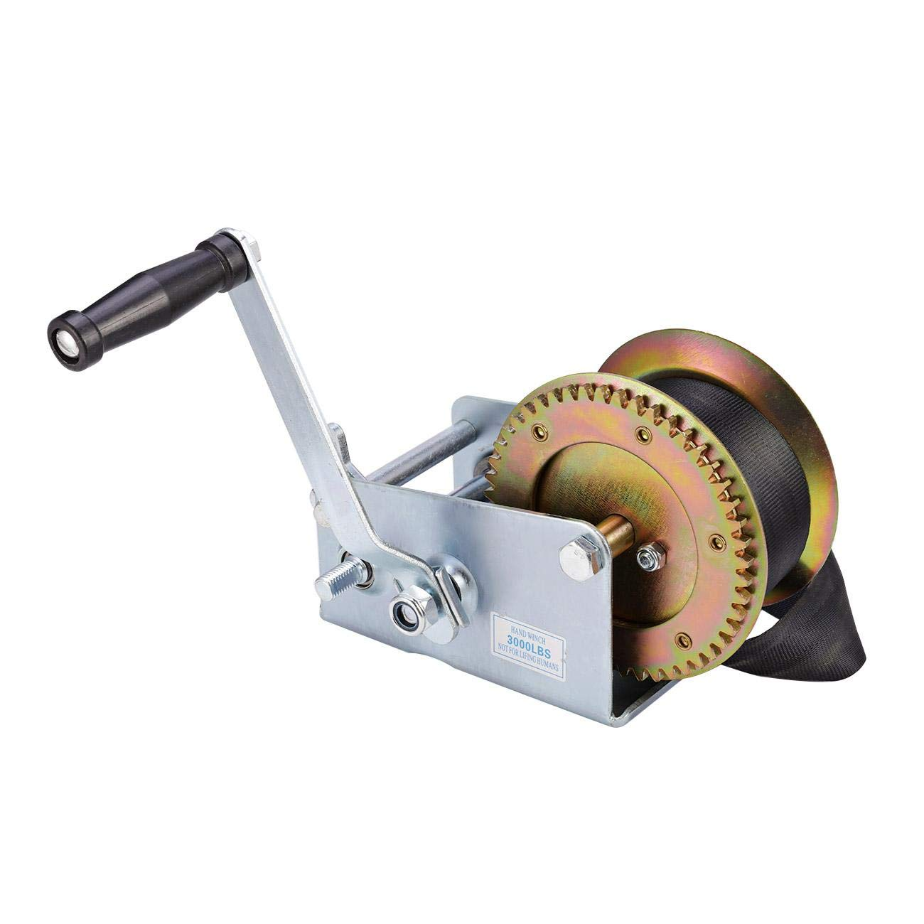 ALAVENTE 3200lbs Hand Winch Crank Cable, Heavy Duty Gear Winch for Trailer, Boat or ATV (Steel)