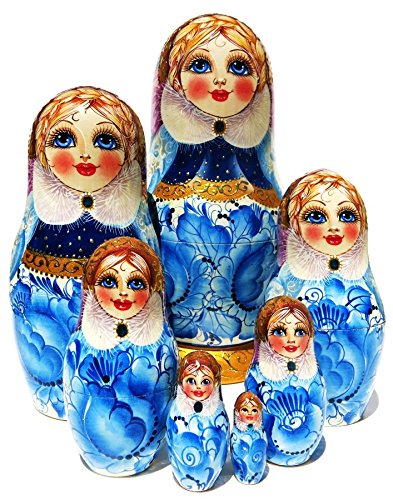 9'' tall Snow Maiden 7 Piece Russian Nesting Doll in Doll Stacking Toy Babushka Blue and White Matryoshka by GreatRussianGifts