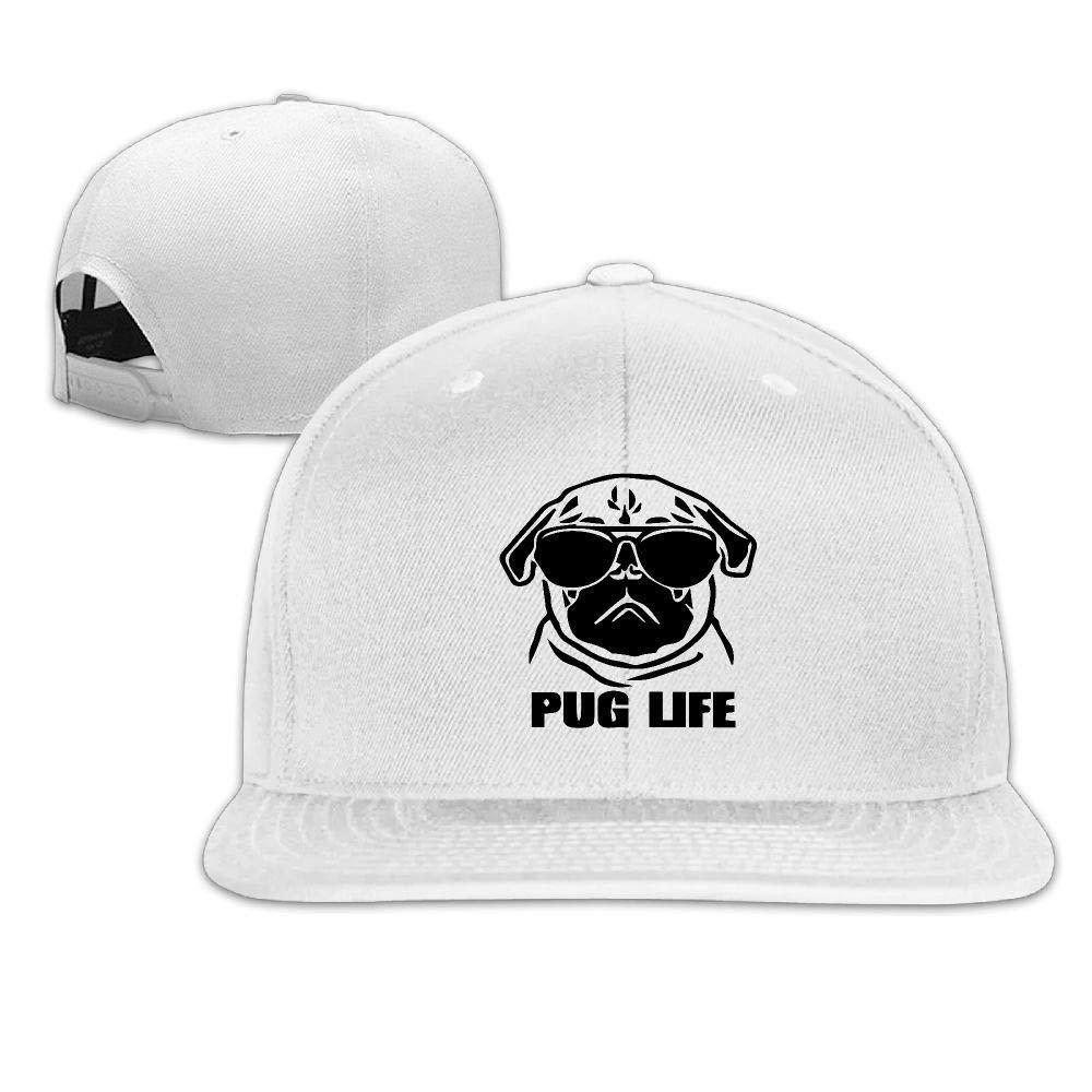 5111f1863af Amazon.com  Lecro Unisex Adjustable Flat-Brim Dad Hat Baseball Caps - Pug  Life Skull Cap  Clothing