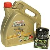 Set para cambio de aceite, 4litros, Castrol, SAE 10W-40Power 1,4T, incluye filtro de aceite HiFlo HF164, p. ej., BMW F 650, K 1200, R 1200, K 1600