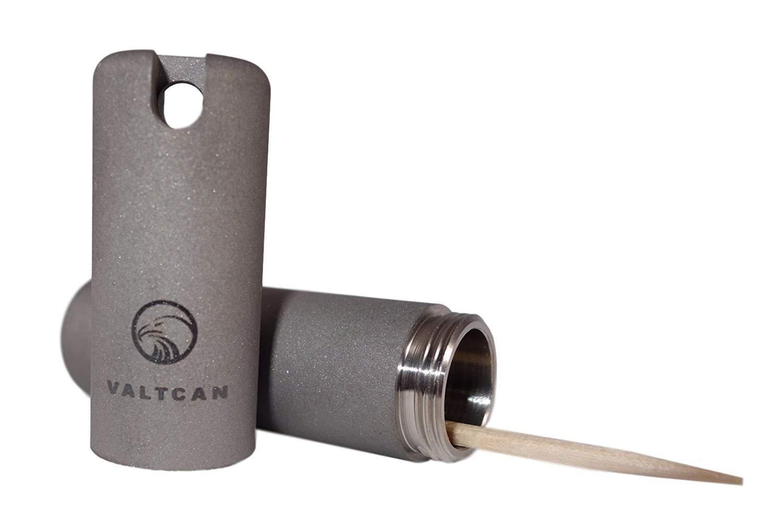 Valtcan Valt_E TOOTHPICK HOLDER Titanium Pill Canister Keychain VALTCAN Pocket Design by Valtcan