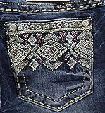 Miss Me Women's Bead Embellished Mid Rise Boot Cut Denim Jean, Dark, 28