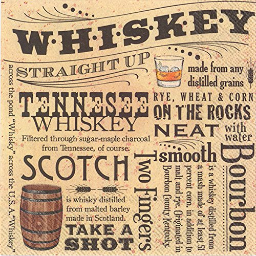 Celebrate the Home Brown Paper 3-Ply Paper Cocktail Napkins, Whiskey, 20 Count