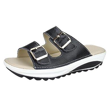 ed206deab49f0 Amazon.com  Summer Fashion Womens Casual Sandals Beach Slipper Peep Toe  Platform Thick Bottom Comfortable Soft Shoes  Clothing