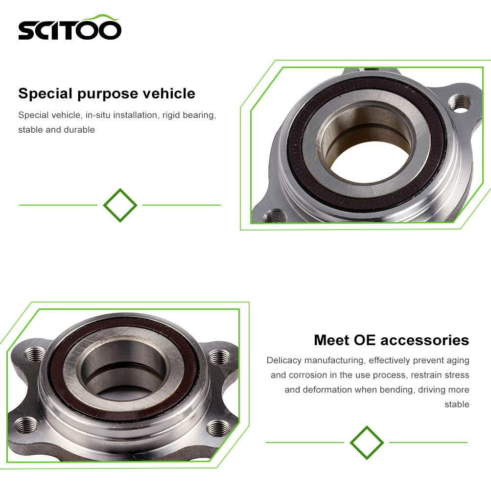 SCITOO Wheel Hub Compatible with Bearing and Hub Assembly Rims Fits Audi A6 2005-2011 Front//Rear Wheel with 5 Bolts 513227