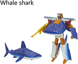 Transformer Marine Animals, Small Plastic Whale Shark Transforming Robot, Party Favors Toys Supplies for Kids