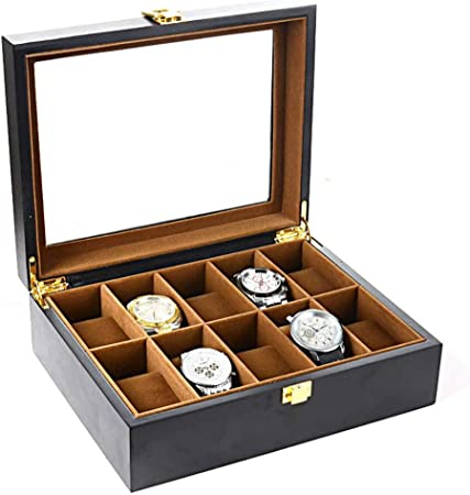 SXXMY Caja de Relojes,Caja para Relojes Caja de Reloj de Madera con Tapa de Pintura Negra Mate: Amazon.es: Hogar