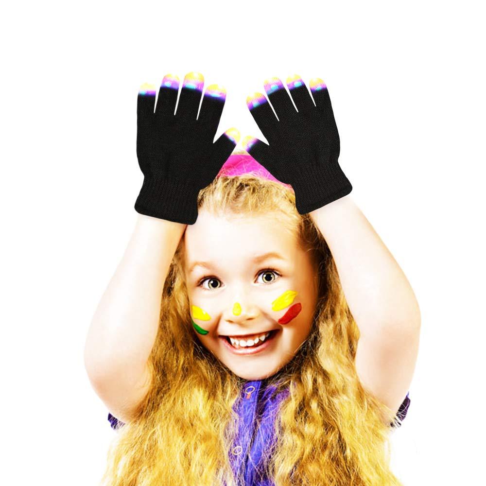 Stocking Stuffer Flashing Gloves Birthday Present Best for 4-8 Year Old Boys Girls Fun Cool Outdoor Toys for 5-10 Year Old Boys Girls G03 DIMY LED Gloves Kids Boys Girls Halloween Children