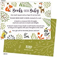Woodland Baby Shower Book Request Cards with Owl and...
