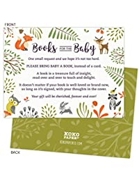 Woodland Baby Shower Book Request Cards with Owl and Forest Animals. Pack of 50. Gender-Neutral, Unisex Design Suitable for Boy or Girl. BOBEBE Online Baby Store From New York to Miami and Los Angeles