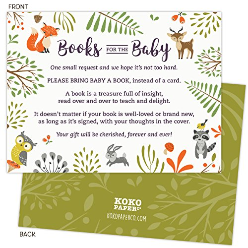 Woodland Baby Shower Book Request Cards with Owl and Forest Animals. Pack of 50. Gender-Neutral, Unisex Design Suitable for Boy or Girl. -