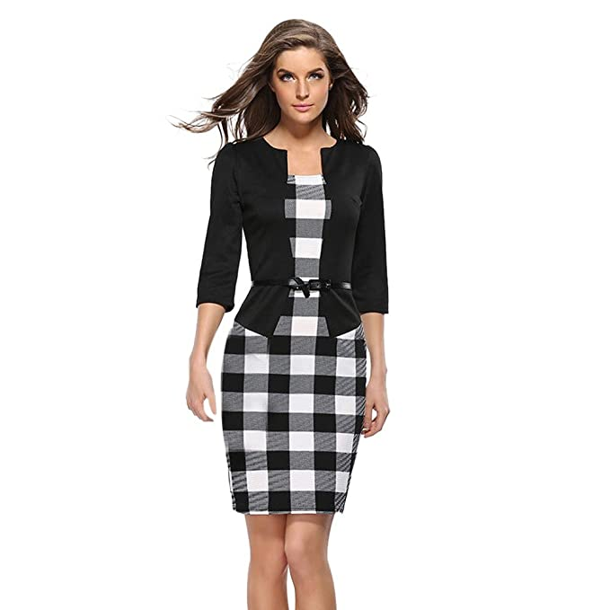 b13a3c66e67 Birdfly Office Women s Plaid Patchwork Pencil Skirts Formal Working Dress  with Three Quarter Sleeve.Plus