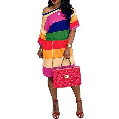 ce29018a90e Amazon.com  OLUOLIN Women s Sexy One Shoulder Short Sleeve Raglan sleeve  Loose Fit Striped Color Block Rainbow Print Step Hem Dress  Clothing