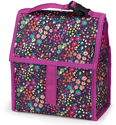 PackIt Freezable Lunch Bag with Zip Closure, (Flower Girl Canvas Tote Bag)