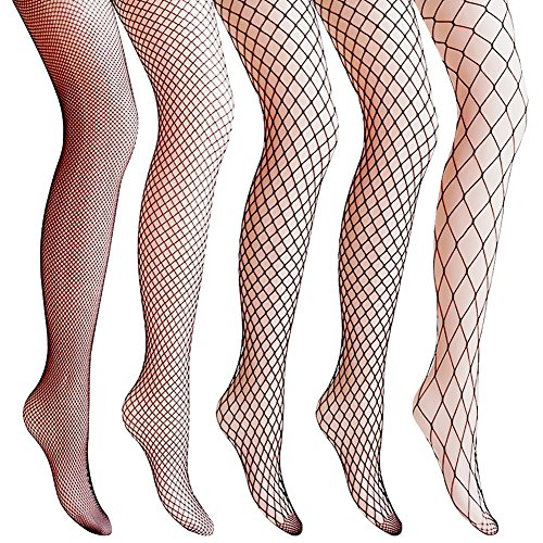 Amandir 4-5 Pairs Fishnet Stockings Womens Lace Mesh Patterned Fishnet Leggings Tights Net Pantyhose