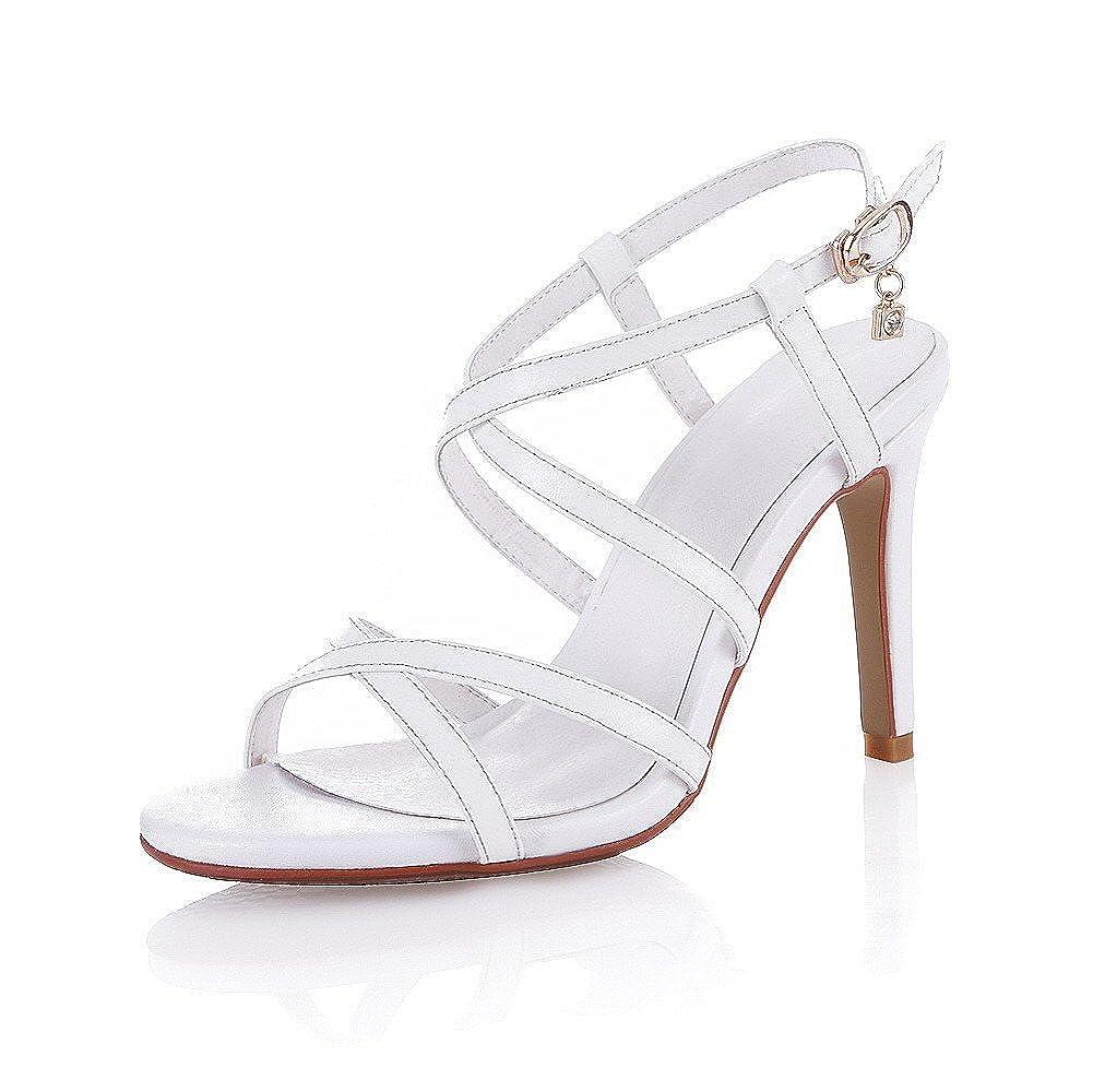 AmoonyFashion Womens Open Toe Spikes Stilettos Nappa Solid Buckle Sandals