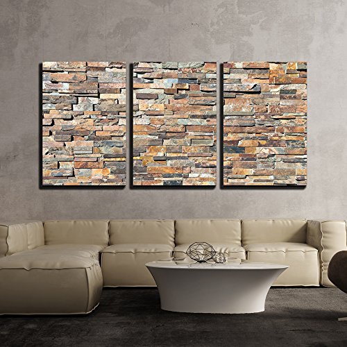 wall26 - 3 Piece Canvas Wall Art - Decor Natural Stone Wall Textere - Modern Home Decor Stretched and Framed Ready to Hang - 24